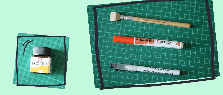 narzędzia do kaligrafii i brush letteringu