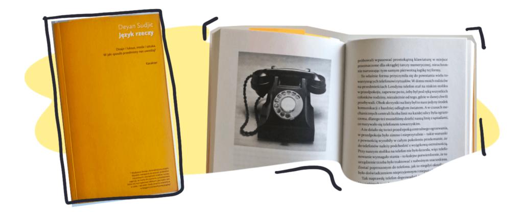 Okładka książki Język rzeczy iprzykładowa rozkładówka
