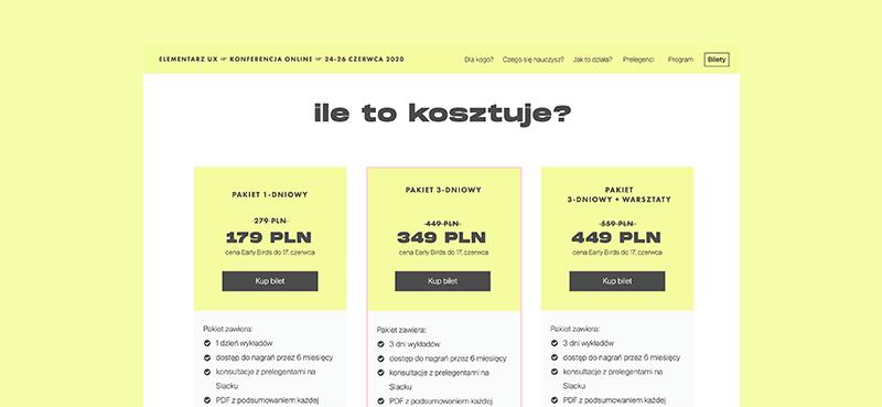 ceny Elementarz UX – 179-449 zł